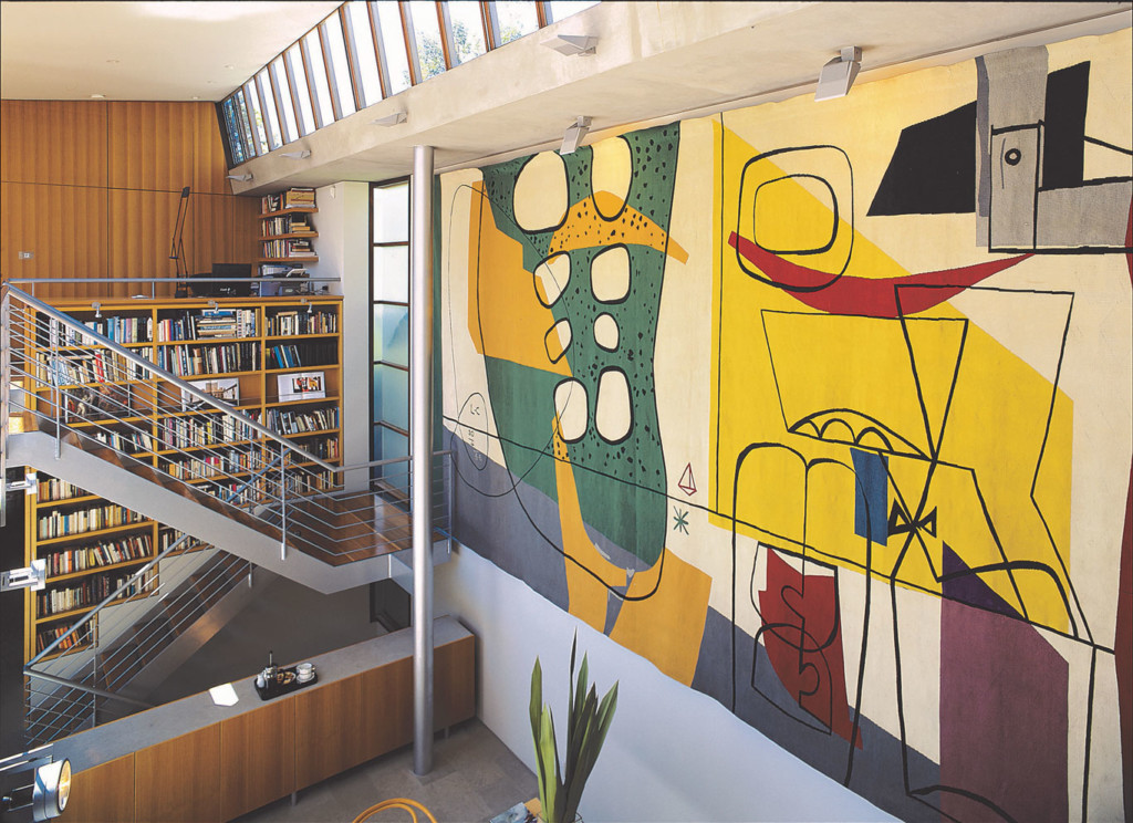 Looking down onto the void space with the Le Corbusier tapestry
